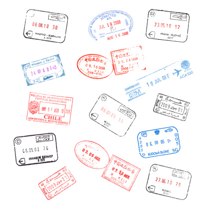 set of various passport visa stamps isolated on white background