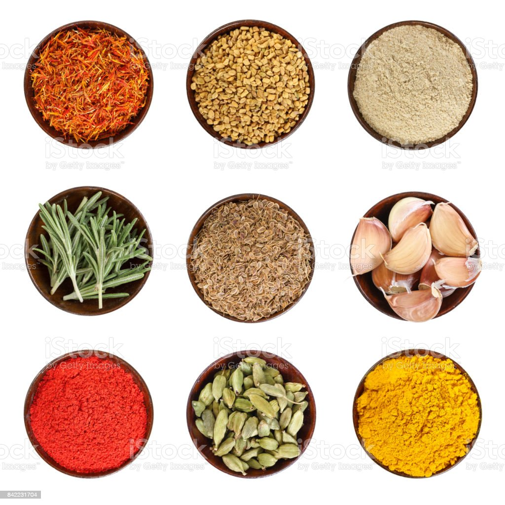 Set of various spices isolated on white. stock photo