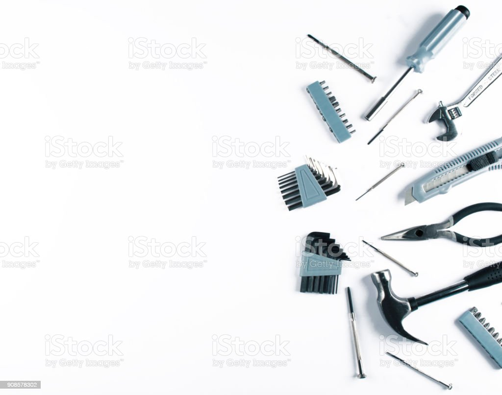 Set of various tools on white background. stock photo
