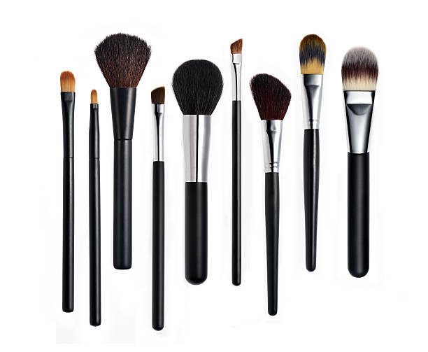 Set of various types of makeup brushes lined up in a row Make-up Brushes on white background. make up brush stock pictures, royalty-free photos & images