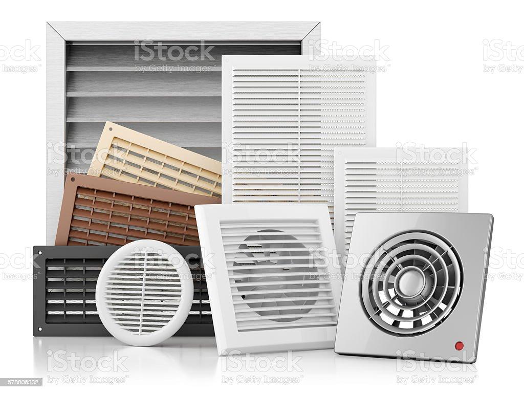Set of ventilation grilles stock photo
