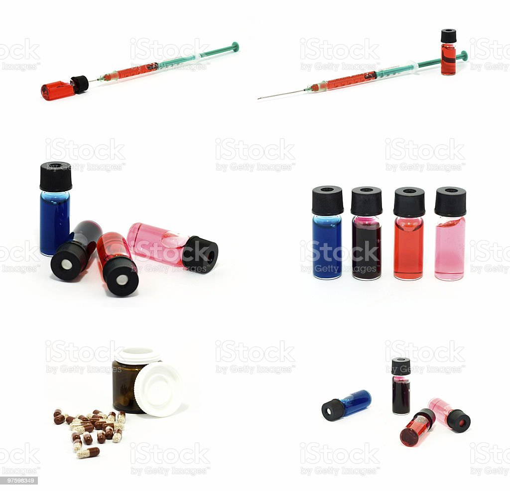 Set of vials, pills and syringe royalty-free stock photo