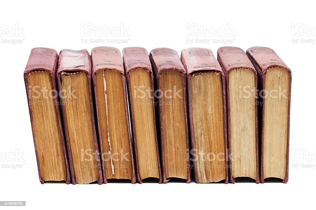 Set of vintage books with shabby brown cover, aged pages stock photo