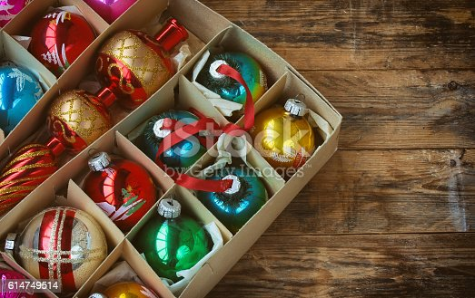 istock set of vintage Christmas decoration 614749514