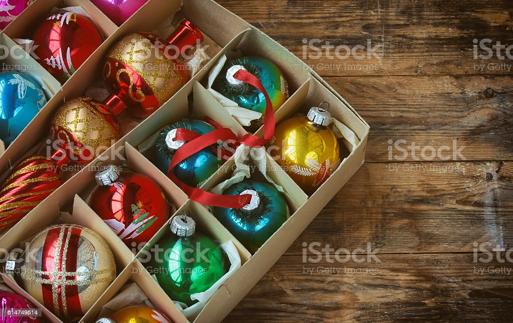 set of vintage Christmas decoration stock photo
