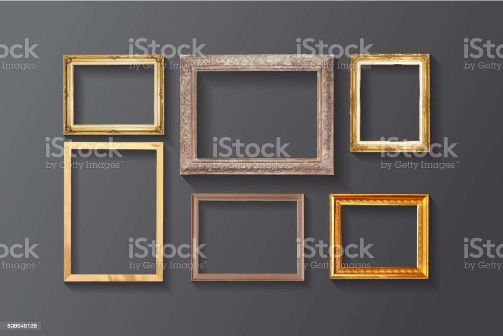 Set Of Vintage Classic Picture Wood Frame Stock Photo More
