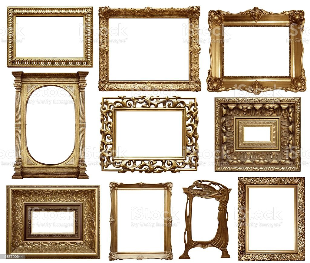 Set Of Vintage Frame Oil Painting Style Isolated On White Stock ...