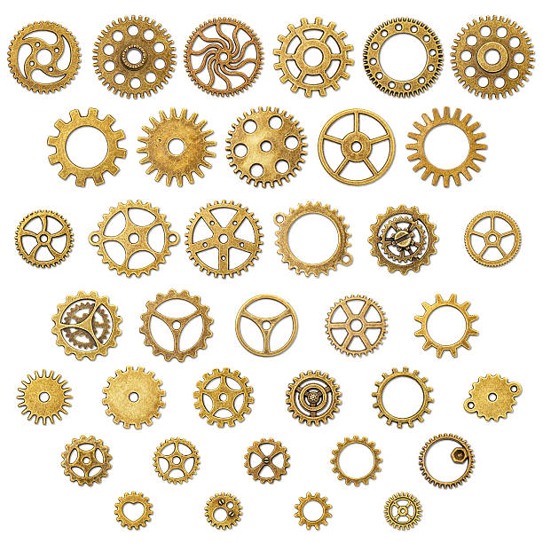 set of vintage mechanical cogwheel gears wheels - steampunk stock photos and pictures