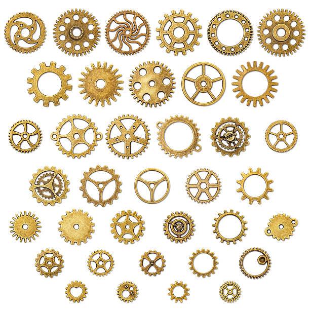 Set of Vintage Mechanical Cogwheel Gears Wheels stock photo