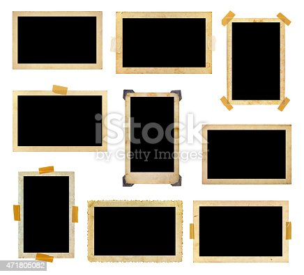 istock A set of vintage photo frames with the photo space blank 471805082