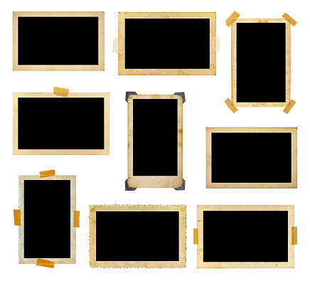 A set of vintage photo frames with the photo space blank
