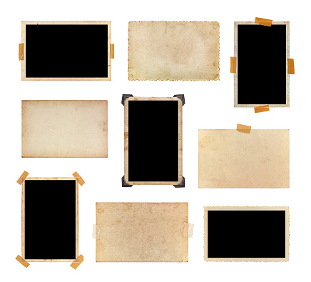 Set of vintage photos isolated on a white background.