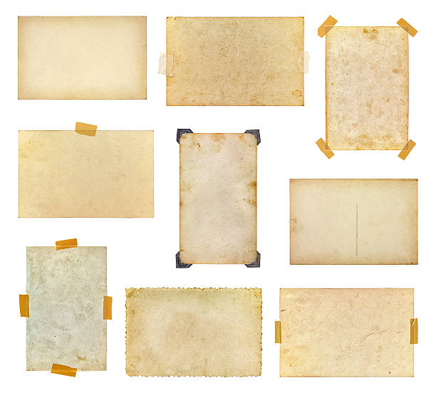 set of vintage photos taped to a white background - adhesive tape stock photos and pictures