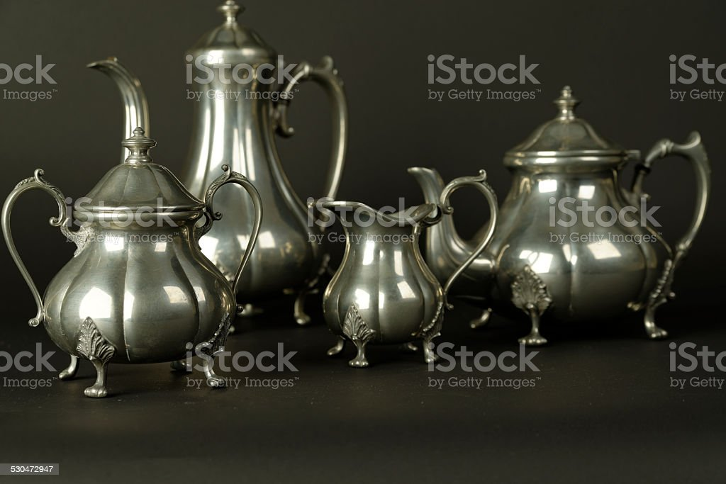 Set of vintage silver plated goblets isolated stock photo