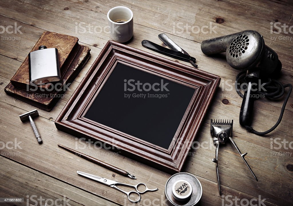 Set Of Vintage Tools Of Barber Shop And Picture Frame Stock Photo