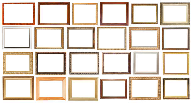 set of vintage wide wooden picture frames isolated stock photo
