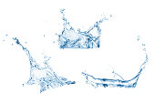 Set of water splashes collection isolated over white background