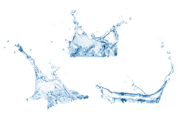 set of water splashes collection - splashing stock photos and pictures