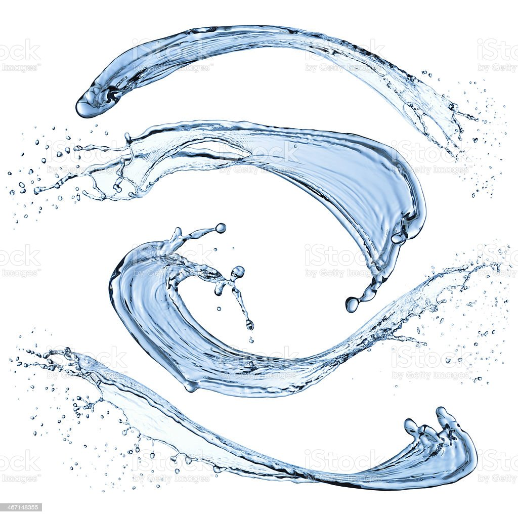 Set of  water splashes. stock photo