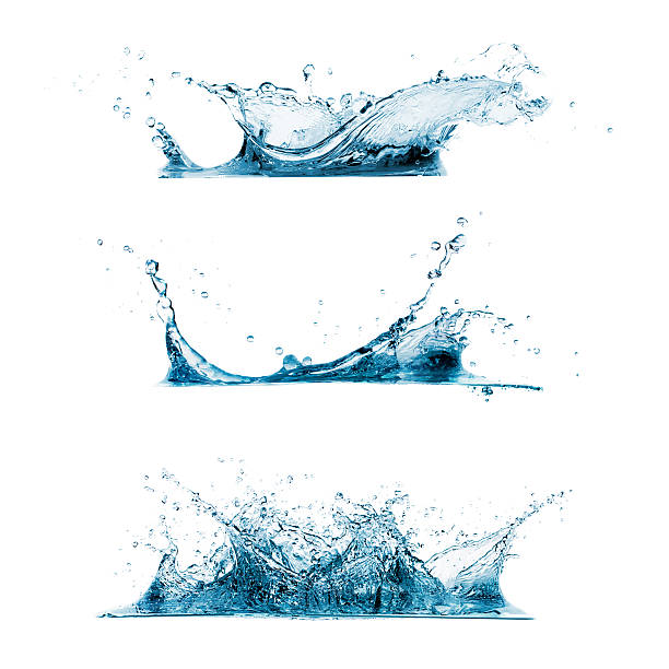 set of water splashes - splashing stock photos and pictures