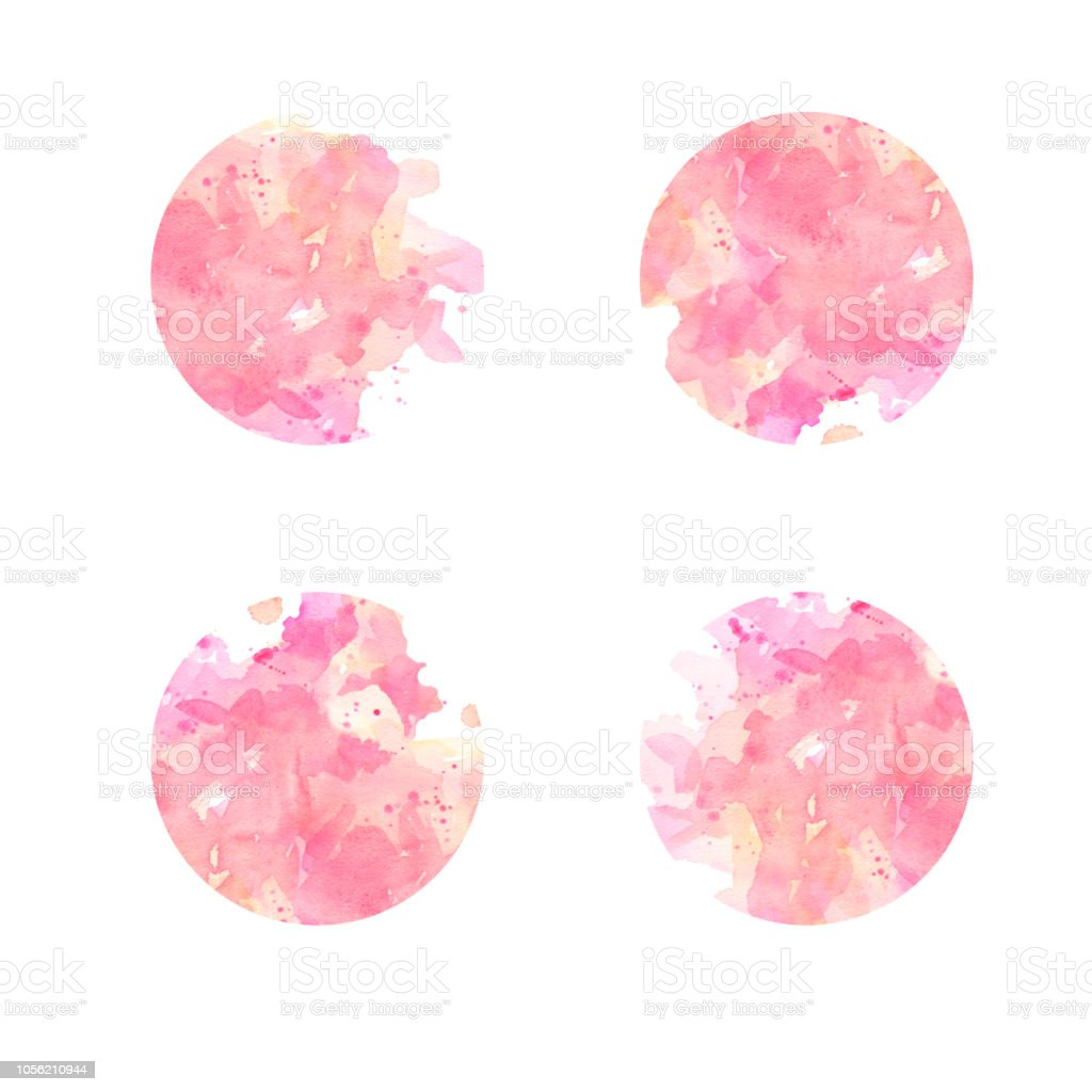set of watercolor abstract spots pastel pink stock photo