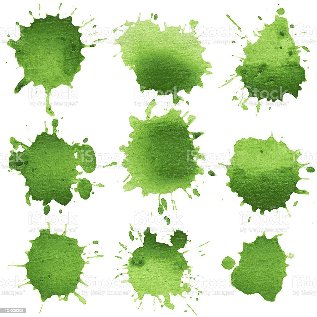 Set of watercolor blobs, isolated on white background stock photo