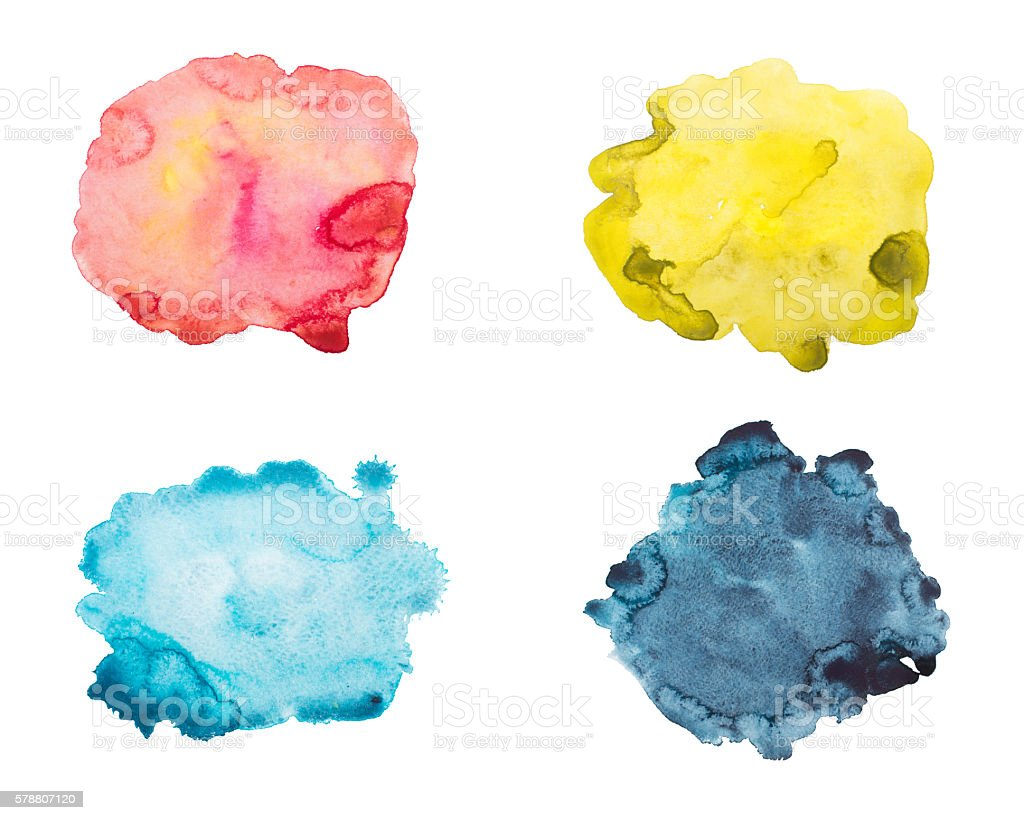 Set of watercolor blot, drop, isolated on white background. stock photo