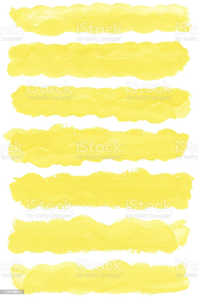 Set of watercolor paint brush strokes royalty-free stock photo