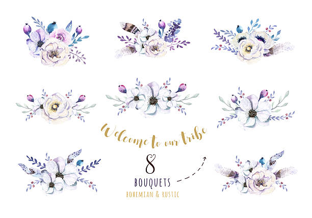 Set of watercolor vintage floral bouquets, bird with feather. Bo stock photo