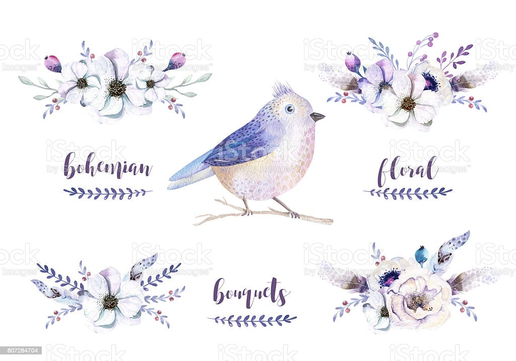 Set of watercolor vintage floral bouquets with feather. Boho spr stock photo