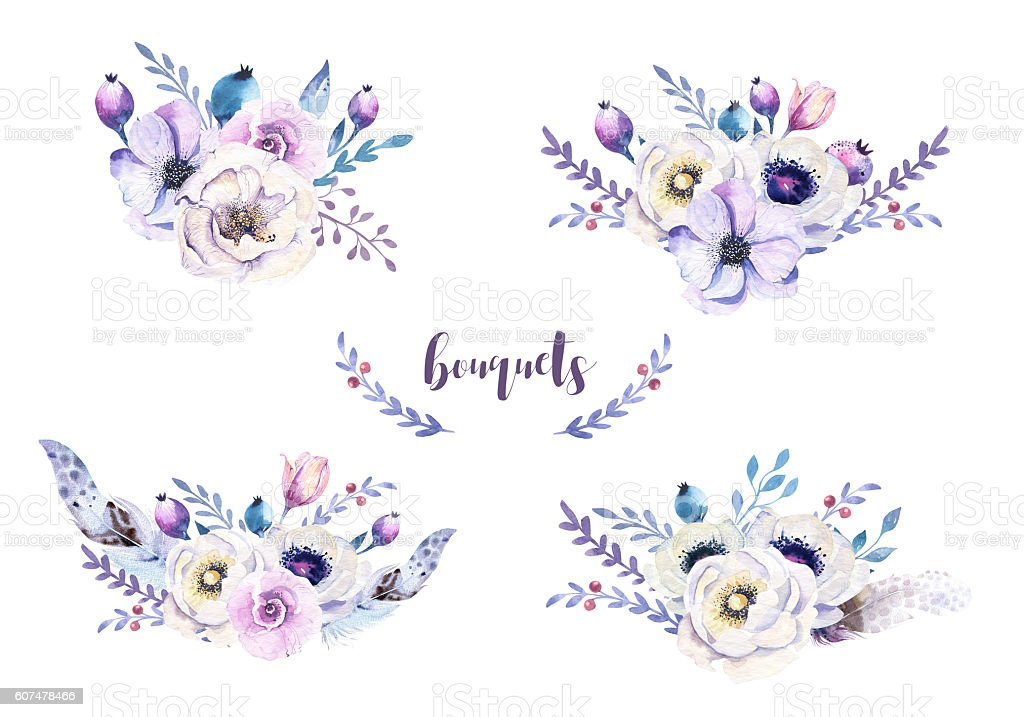 Set of watercolor vintage floral bouquets with feather stock photo