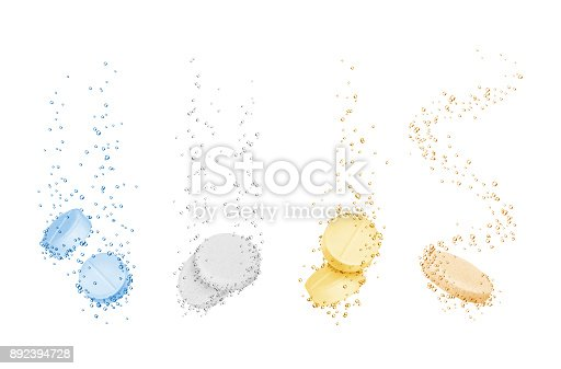 Set of water-soluble pills close-up on white background