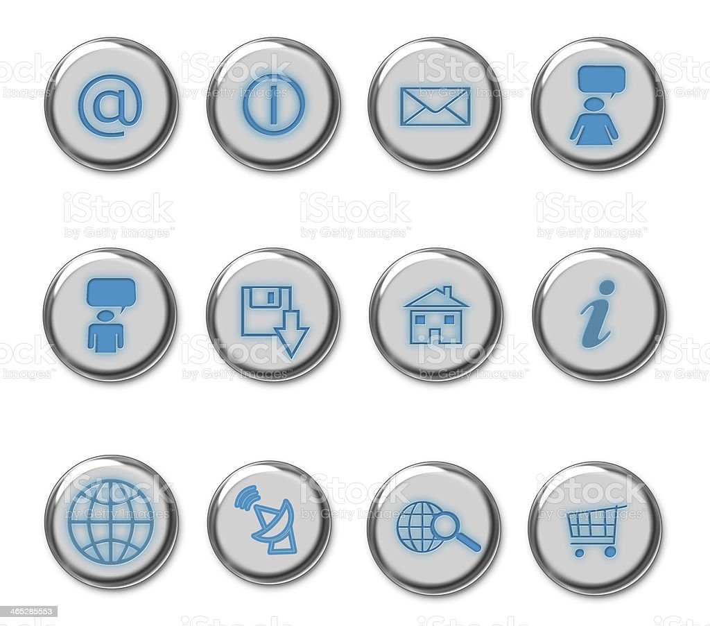 Set of web icon buttons in blue and white with silver rims stock photo