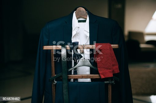 istock Set of wedding clothes and accessories for man 924828462