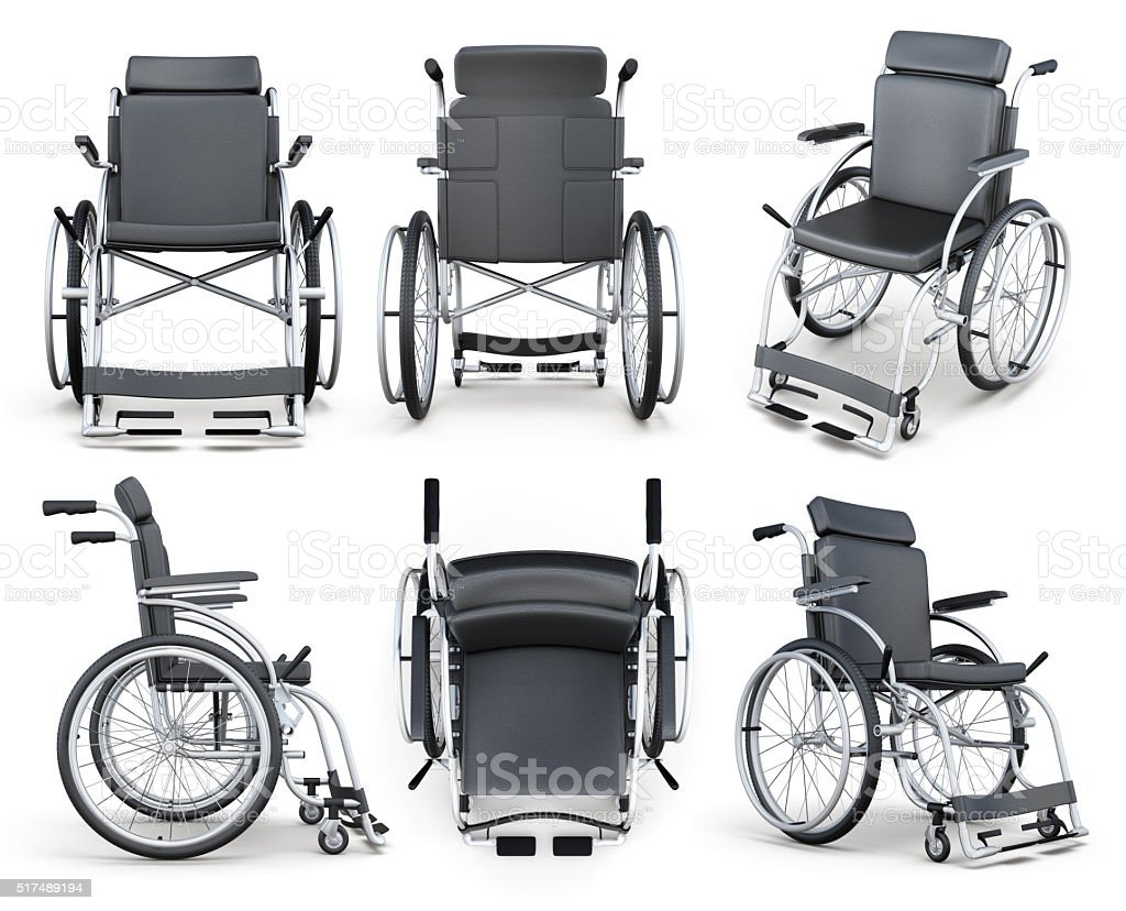 Set of wheelchair isolated on white background. 3d rendering stock photo