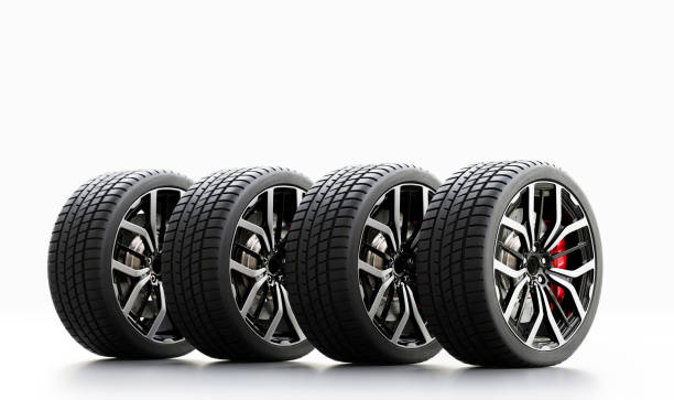 Set of wheels with modern alu rims on white background stock photo