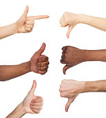 Black and white hands gesturing at white isolated background. Multiethnic hands showing like and dislike, set of finger symbols
