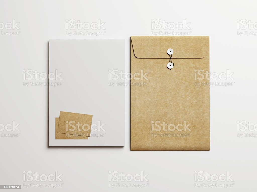 Set of white and kraft branding elements on white background stock photo