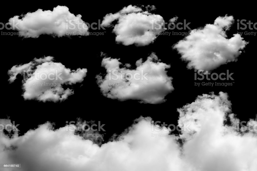 Set of White clouds on black background foto stock royalty-free