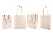 Set of white cotton bag isolated on white