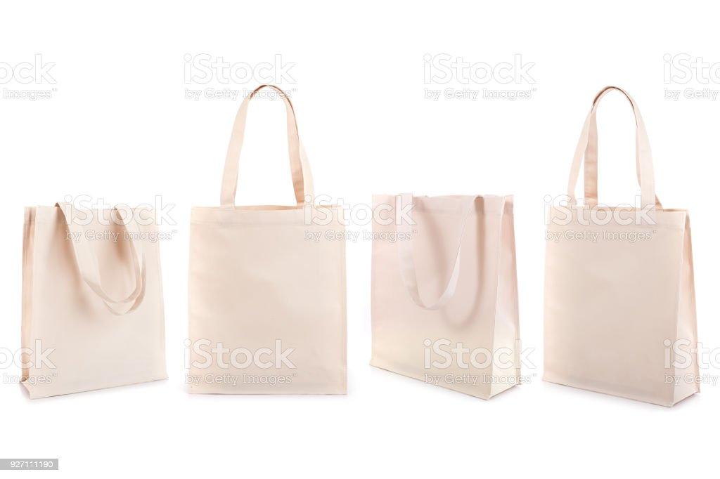 Conjunto de bolsa de algodón blanco aislado en blanco - foto de stock