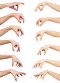 istock Set of white man and woman hands. Hand picking up something 862592910