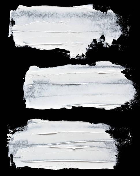 Set of white oil paint brush strokes stock photo