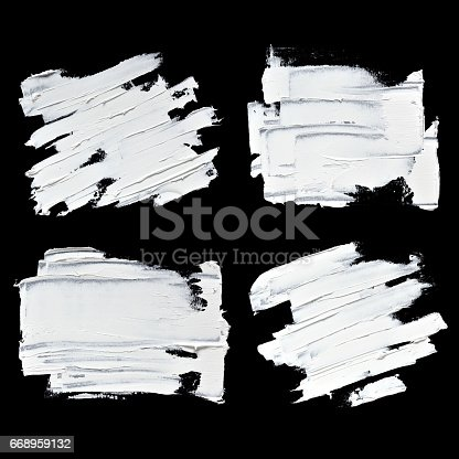 534130204istockphoto Set of white oil paint textured brush strokes 668959132