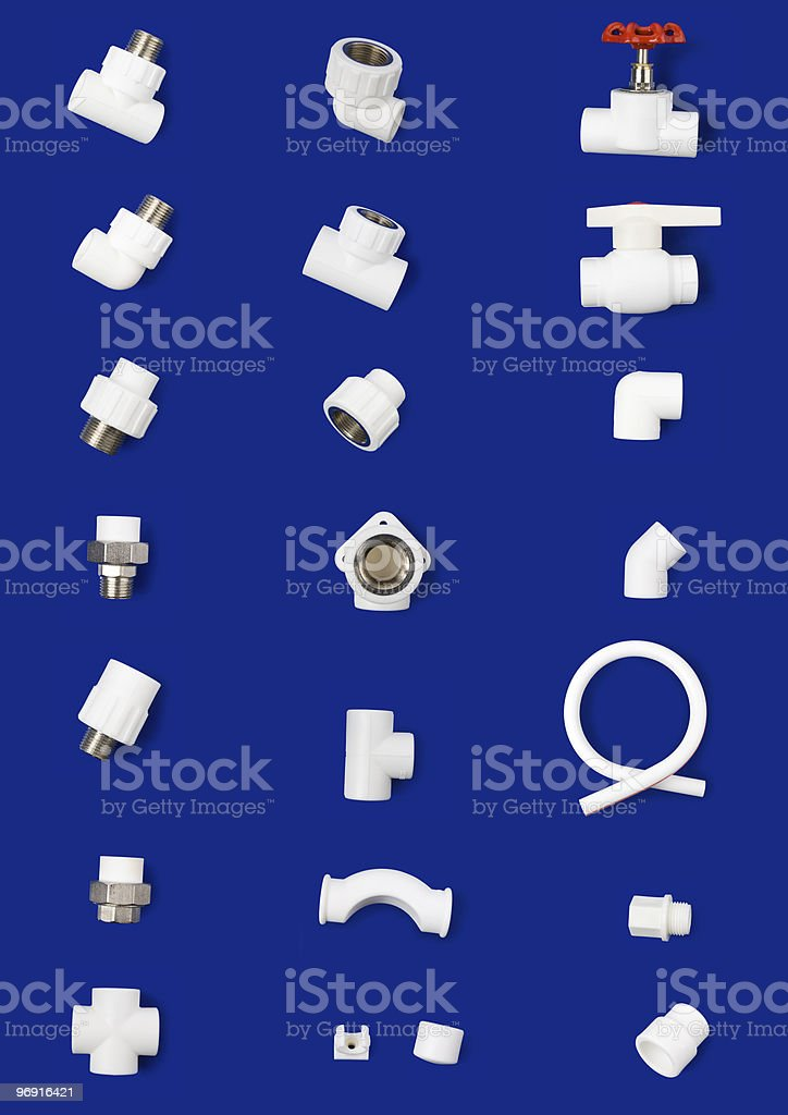 Set of white plastic fittings royalty-free stock photo