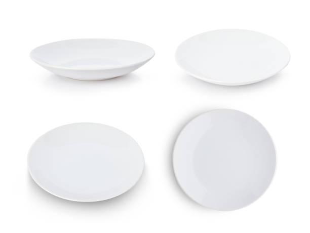 Set of white plate isolated on white background stock photo