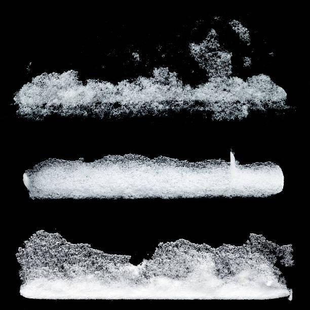 검은 백라운드에 고립 된 흰색 눈 패턴 세트 - 서리 뉴스 사진 이미지