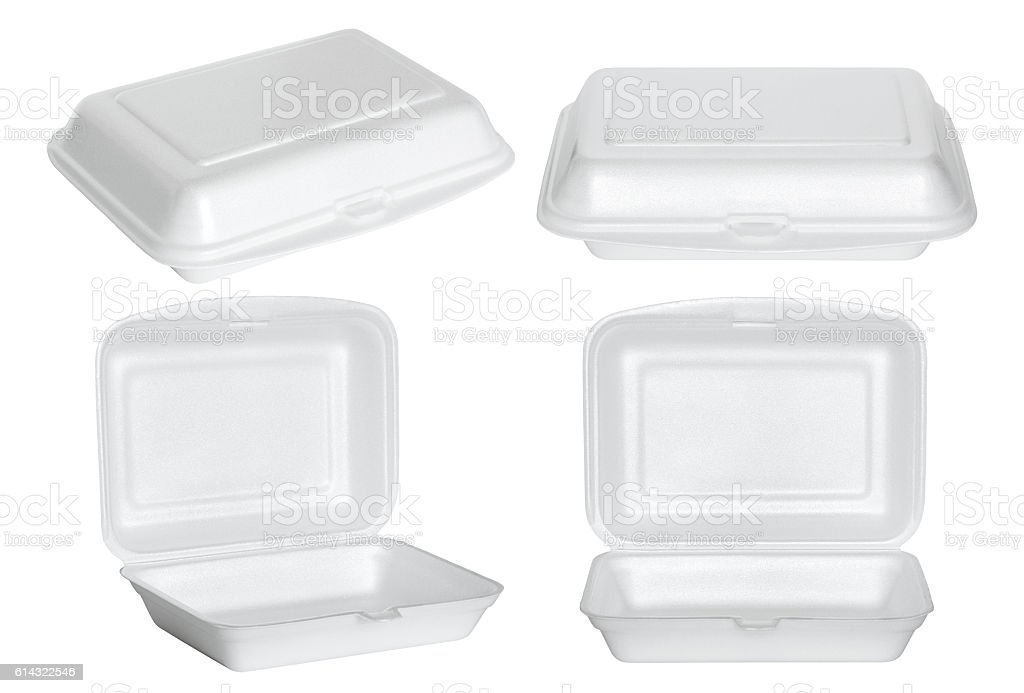 set of white styrofoam box isolated on white - foto de stock