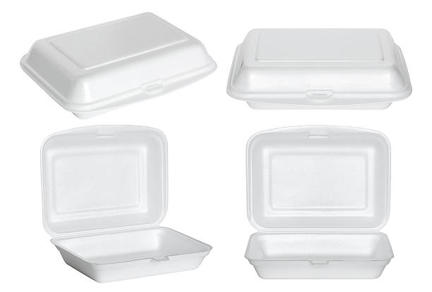 set of white styrofoam box isolated on white stock photo