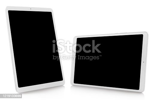 Set of white tablet computers, isolated on white background, perspective views
